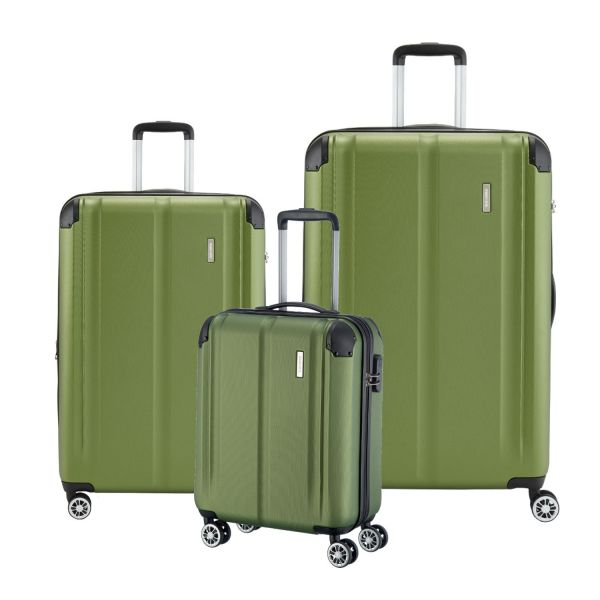 travelite city kofferset 3 tlg 4w l m s gr n. Black Bedroom Furniture Sets. Home Design Ideas